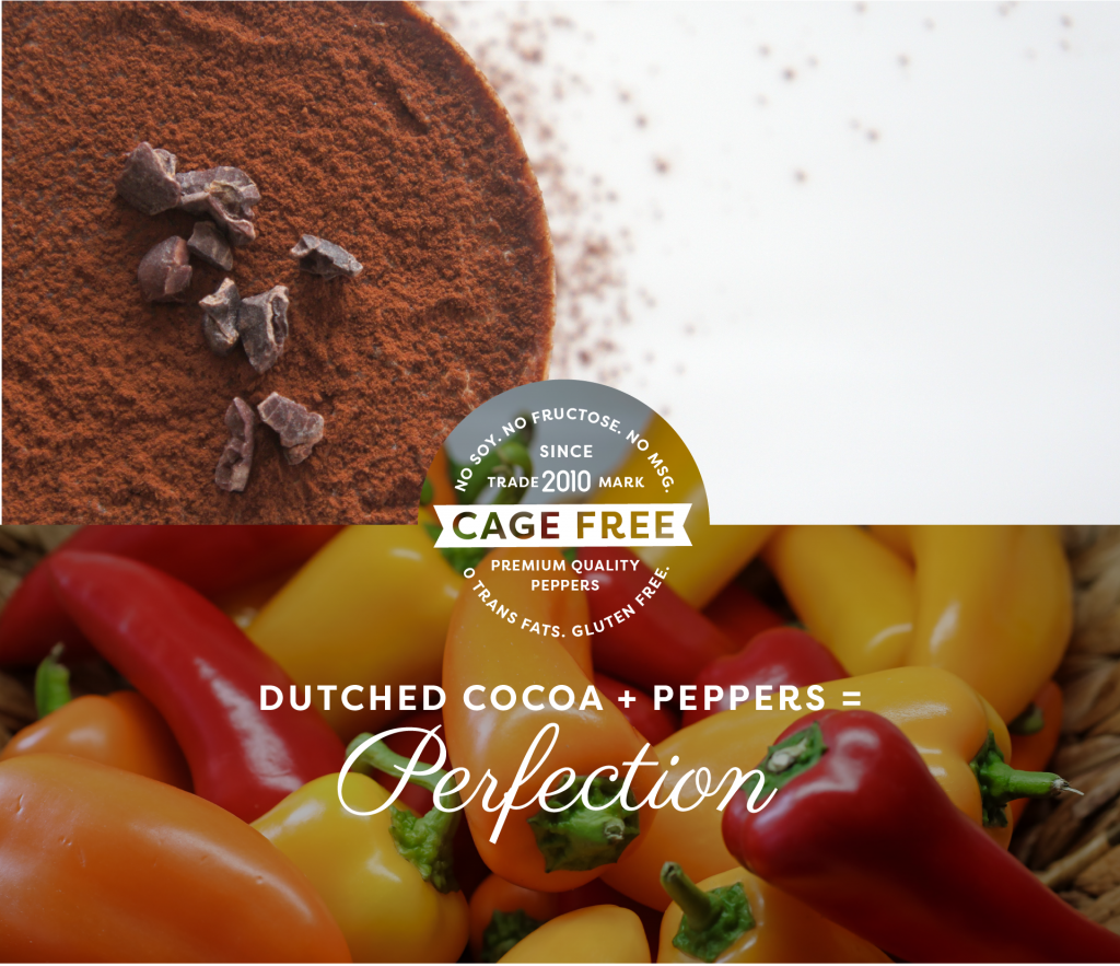cocoa powder and peppers