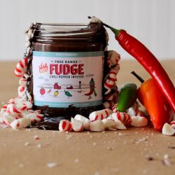 Spicy chocolate hot fudge in a jar with chili and peppermint