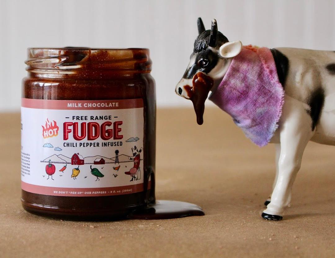 spicy chocolate in a jar with a cow